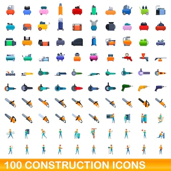 100 construction icons set. cartoon illustration of 100 construction icons set isolated