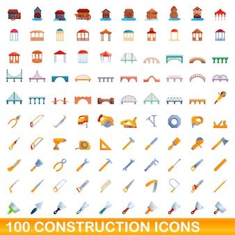 Набор 100 строительных иконок. карикатура иллюстрации 100 строительных иконок векторный набор, изолированные на белом фоне