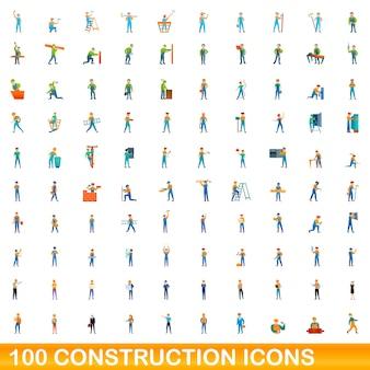 100の建設アイコンが設定されています。白い背景で隔離の100建設アイコンベクトルセットの漫画イラスト