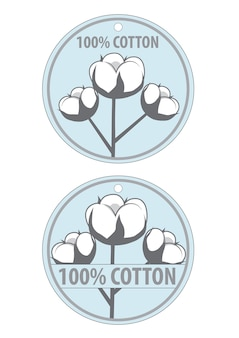100 cotton product clothing labels. cotton on blue background