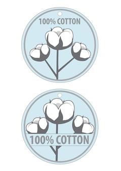 100 этикеток для одежды из хлопка. хлопок на синем фоне