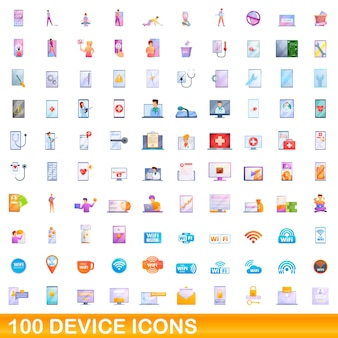 100 device icons set. cartoon illustration of 100 device icons set isolated