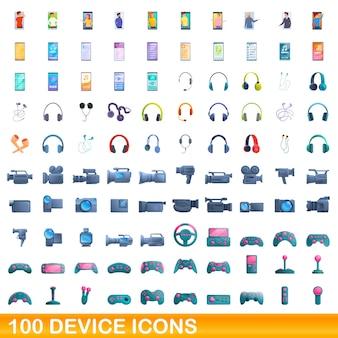 100個のデバイスアイコンが設定されています。白い背景で隔離の100のデバイスアイコンセットの漫画イラスト