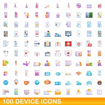 Набор иконок 100 устройств. карикатура иллюстрации набора 100 значков устройства изолированы