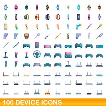 100개의 장치 아이콘이 설정되었습니다. 100 장치 아이콘의 만화 그림 격리 설정