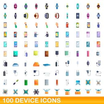100개의 장치 아이콘이 설정되었습니다. 흰색 배경에 고립 된 100 장치 아이콘 벡터 세트의 만화 그림