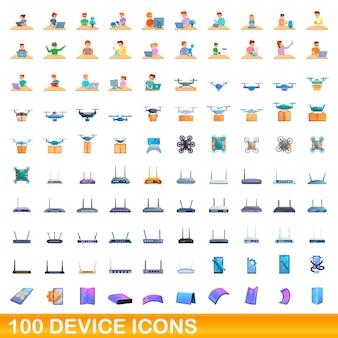 Набор иконок 100 устройств. карикатура иллюстрации набора векторных иконок 100 устройств, изолированные на белом фоне