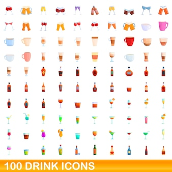 100 drink icons set. cartoon illustration of 100 drink icons set isolated Premium Vector