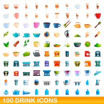100 drink icons set. cartoon illustration of 100 drink icons set isolated