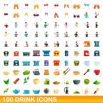 100 drink icons set. cartoon illustration of 100 drink icons vector set isolated on white background