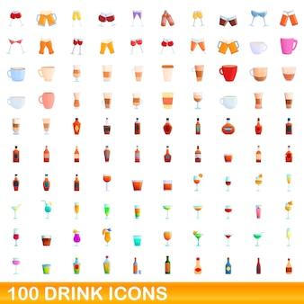 100ドリンクアイコンセット。分離された100ドリンクアイコンセットの漫画イラスト