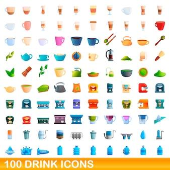 100 음료 아이콘을 설정합니다. 100 음료 아이콘의 만화 그림 격리 설정 프리미엄 벡터