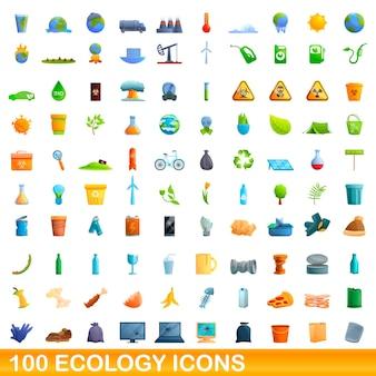 100個のエコロジーアイコンが設定されています。白い背景で隔離の100のエコロジーアイコンセットの漫画イラスト