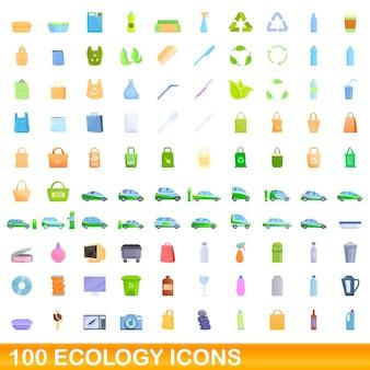 100 생태 아이콘을 설정합니다. 100 생태 아이콘 벡터 세트의 만화 그림 흰색 배경에 고립