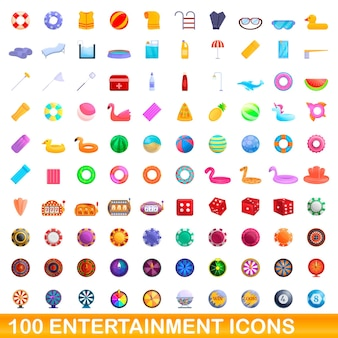 Набор иконок 100 развлечений. карикатура иллюстрации 100 развлекательных векторных иконок, изолированные на белом фоне