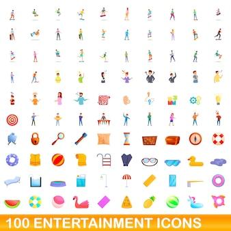 100 엔터테인먼트 아이콘을 설정합니다. 100 엔터테인먼트 아이콘 벡터 세트의 만화 그림 흰색 배경에 고립