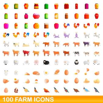Набор иконок 100 фермы. карикатура иллюстрации 100 иконок фермы векторный набор, изолированные на белом фоне