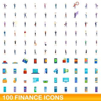 100 금융 아이콘을 설정합니다. 100 금융 아이콘 벡터 세트의 만화 그림 흰색 배경에 고립