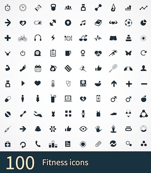 100 fitness icons set
