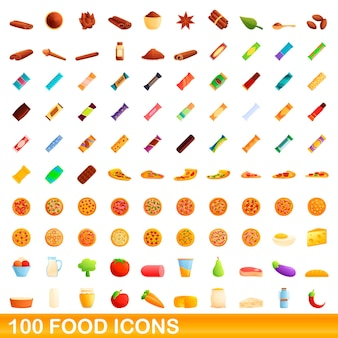 100 food icons set. cartoon illustration of 100 food icons  set isolated on white background