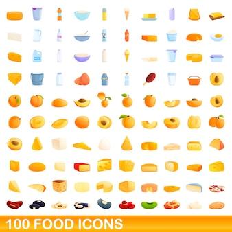 100 food icons set. cartoon illustration of 100 food icons set isolated