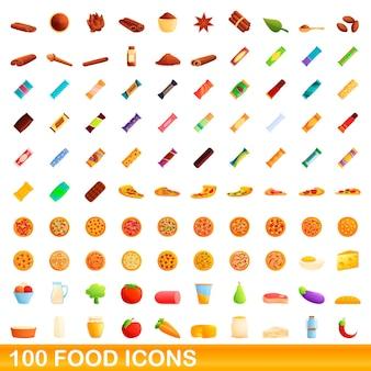 100個のフードアイコンが設定されています。白い背景で隔離の100食品アイコンセットの漫画イラスト