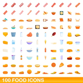 100個のフードアイコンが設定されています。分離された100の食品アイコンセットの漫画イラスト