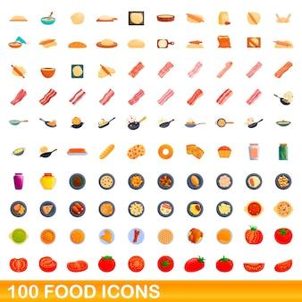 Набор иконок 100 продуктов питания. карикатура иллюстрации 100 набор иконок продуктов питания изолированы