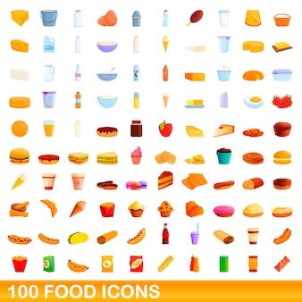 100個のフードアイコンが設定されています。白い背景で隔離の100食品アイコンベクトルセットの漫画イラスト