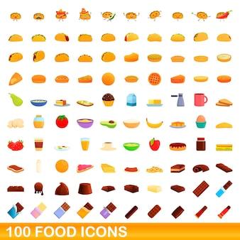 Набор иконок 100 продуктов питания. карикатура иллюстрации 100 иконок продуктов питания векторный набор, изолированные на белом фоне