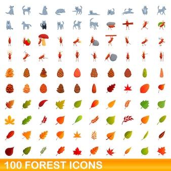 Набор 100 лесных иконок. карикатура иллюстрации 100 лесных векторных иконок набор, изолированные на белом фоне