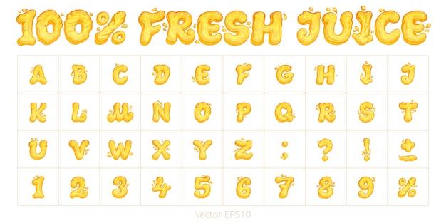 «100% свежий сок». оригинальный векторный шрифт. мультфильм английский алфавит. набор букв, цифр и знаков препинания. оранжевые и желтые символы с жидкими формами.