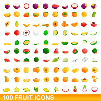 Набор из 100 фруктов, мультяшный стиль