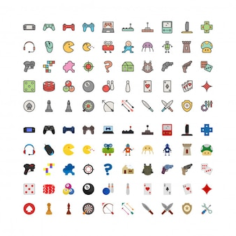 100 game linefilled and flat icons set