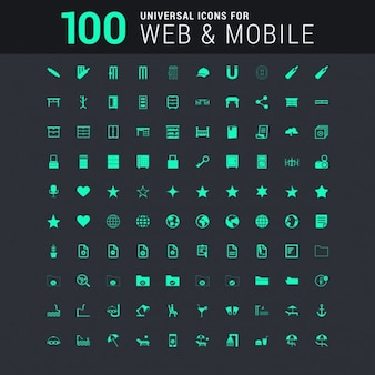 100 green universal icon set