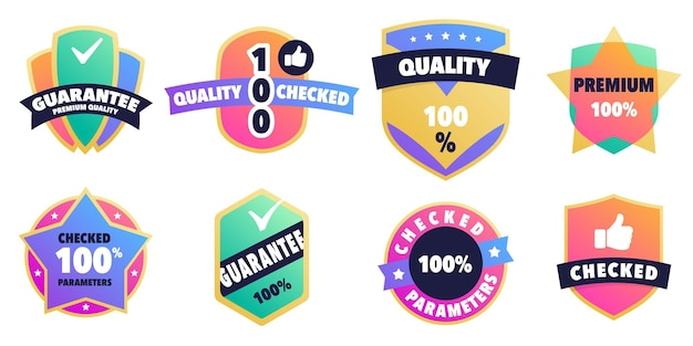 100 guarantee labels set emblems for customer protection services with vivid gradient palette