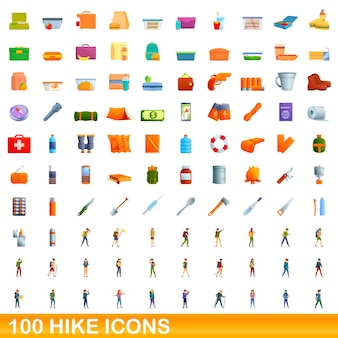 100 hike icons set. cartoon illustration of 100 hike icons  set isolated on white background
