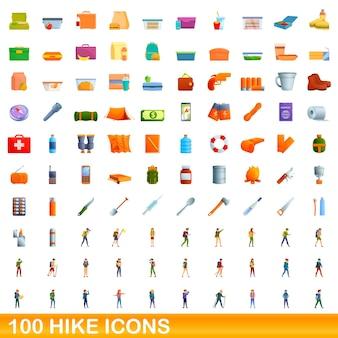 100個のハイキングアイコンが設定されています。白い背景で隔離の100のハイキングアイコンセットの漫画イラスト