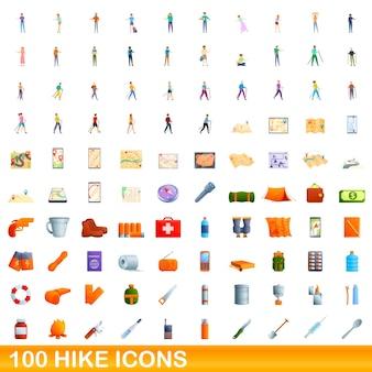 100 하이킹 아이콘을 설정합니다. 100 하이킹 아이콘 벡터 세트의 만화 그림 흰색 배경에 고립