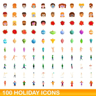 100 holiday icons set. cartoon illustration of 100 holiday icons  set isolated on white background