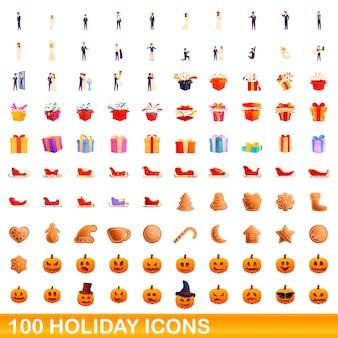 100個の休日アイコンが設定されています。白い背景で隔離の100の休日のアイコンセットの漫画イラスト