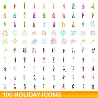 100 휴일 아이콘을 설정합니다. 100 휴일 아이콘 벡터 세트의 만화 그림 흰색 배경에 고립