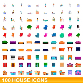 100 house icons set. cartoon illustration of 100 house icons  set isolated on white background