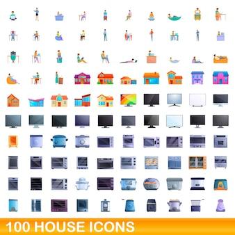 100 집 아이콘을 설정합니다. 100 집 아이콘 벡터 세트의 만화 그림 흰색 배경에 고립