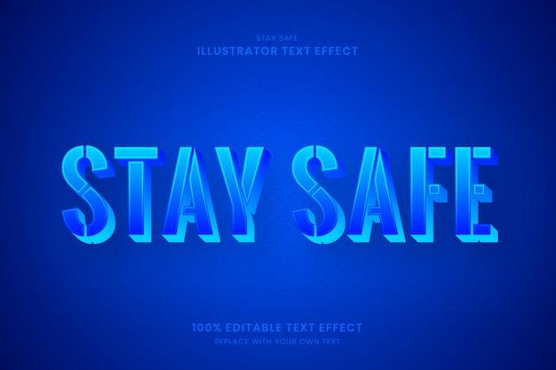 Оставайтесь в безопасности 100% редактируемый текстовый эффект illustrator