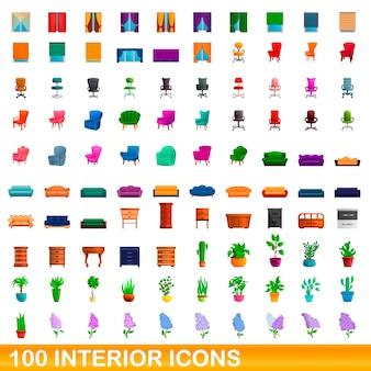 100 interior icons set, cartoon style