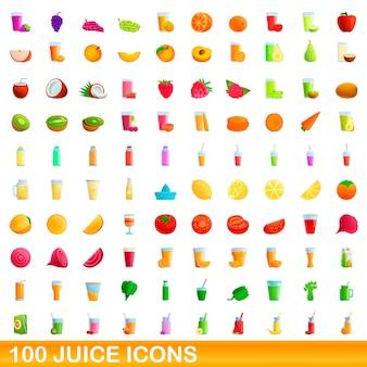 100 주스 아이콘을 설정합니다. 100 주스 아이콘의 만화 그림에 격리 된 흰색 배경을 설정합니다
