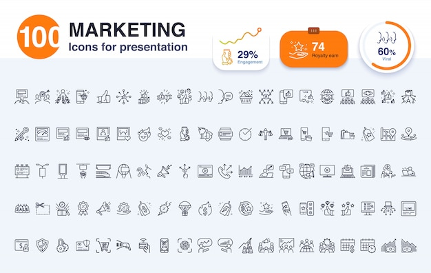 프리젠 테이션 용 100 마케팅 라인 아이콘