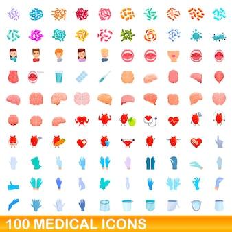 100医療アイコンセット。分離された100の医療アイコンセットの漫画イラスト