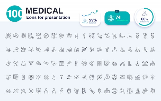 100 medical line icon for presentation